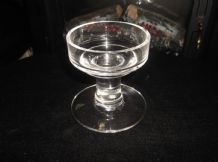 "ELEGANT HEAVY LEAD CRYSTAL GLASS LARGE CANDLE HOLDER  THICK STEM 3.75"" HIGH"